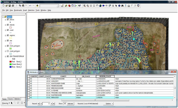 A screenshot of the finalised vector layers and the attribute data on the Gough Map